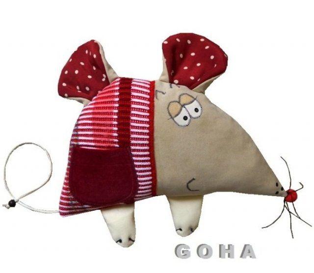 przestrzenna maskotka-przytulanka GOHY myszka z kieszonką na słodkie do przytulania i tarmoszenia ładnie zapakowane- gotowy prezent wym.35cmx30cm