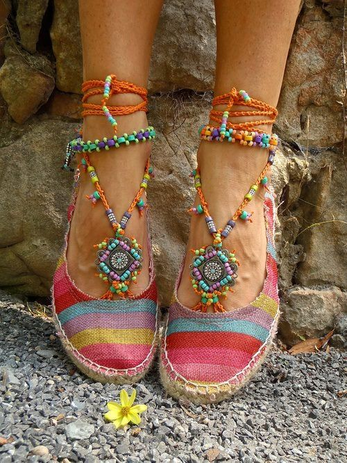 Bejeweled espadrilles: great idea - don't know why I never thought of it. Footless sandals inside sand shoes makes fancy espadrilles. Roll on next summer.