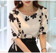 2015 moda verão Vestidos flor impressão Chiffon Chiffon floral blusa de manga curta marca(China (Mainland))