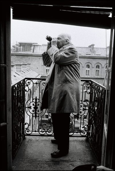 André Kertesz taking a picture from Peter Turnley's balcony, Paris.
