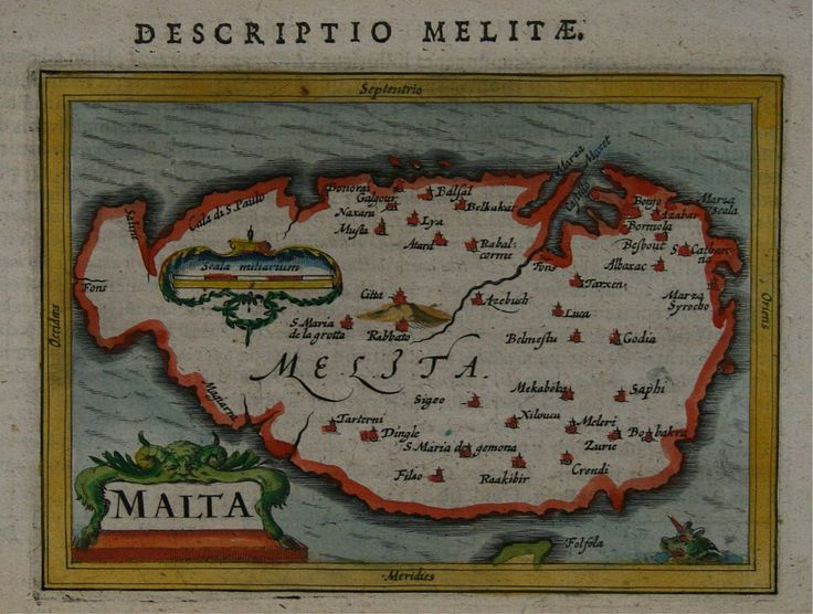"""July 6, #MaltaMapMonday brings us an early seventeenth-century map with sea creatures! Petrus Bertius, """"Malta,"""" hand colored, published in Amsterdam in 1616."""