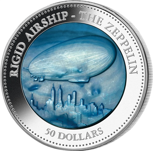 Silver Proof Coin - Cook Islands 2013 $50 Five Ounce 5oz Mother Of Pearl Zeppelin