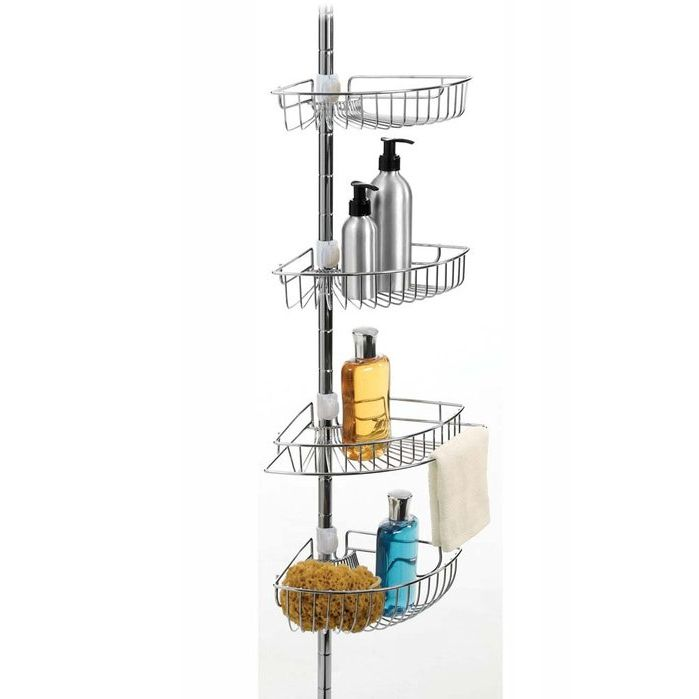Chrome 4 Tier Deep Basket Shower Tower Caddy - Fits 9' Ceilings