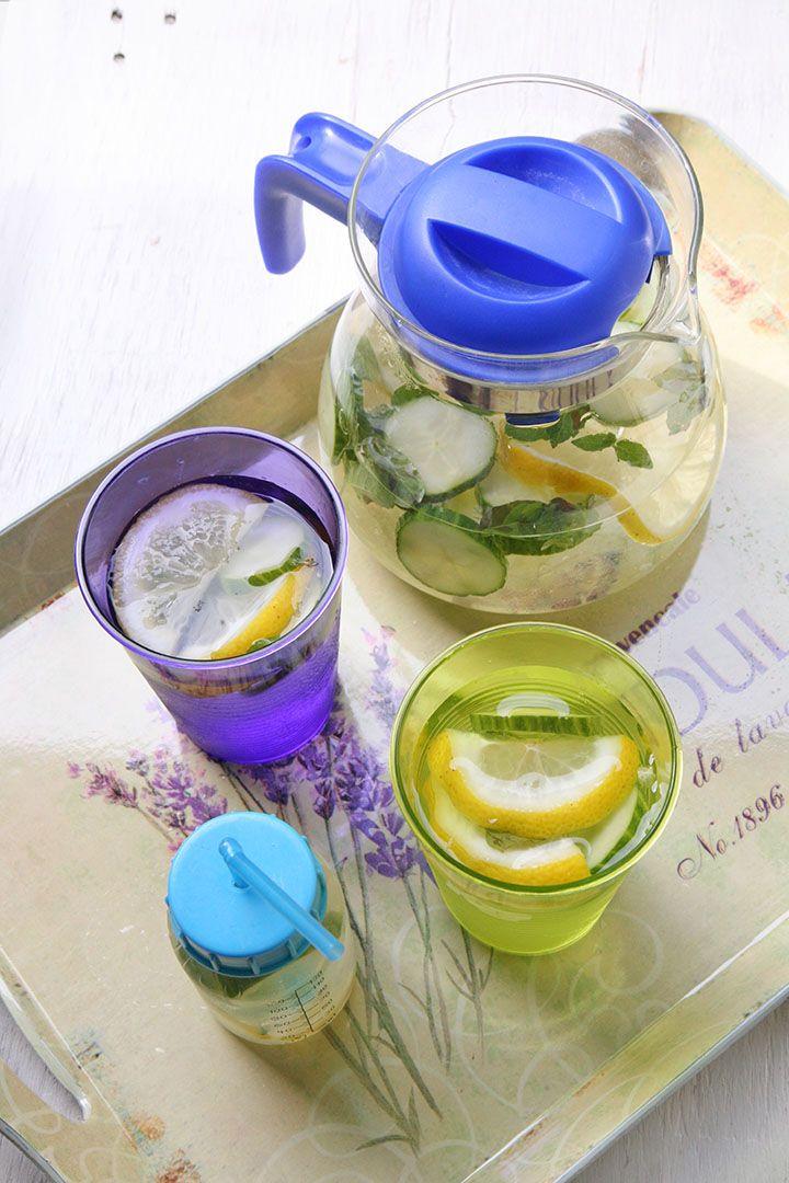 Detox water con limone cetriolo e menta