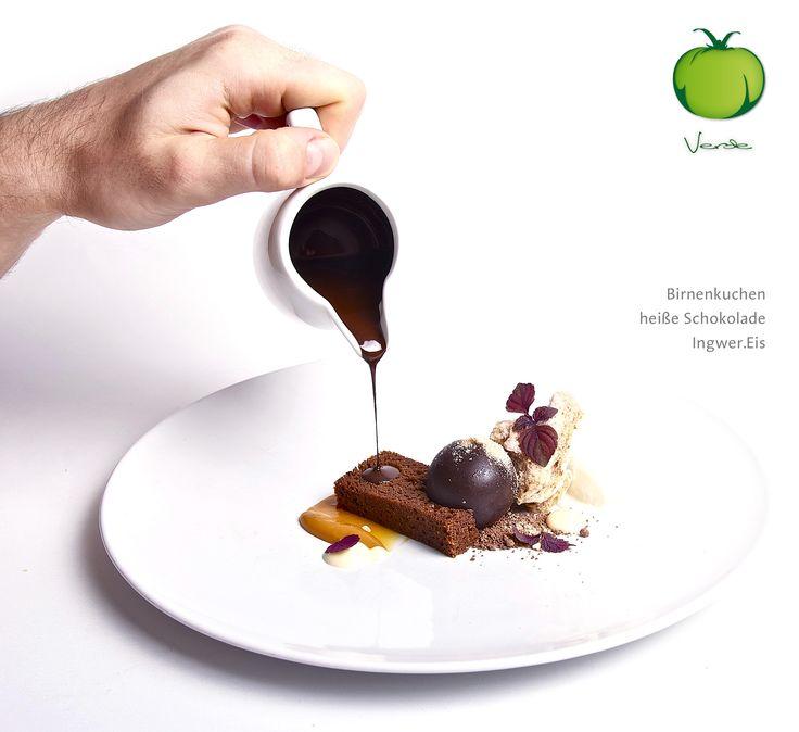 Dessert des Weinmenü: Birnenkuchen, heiße Schokolade, Ingwereis  http://verde-prien.de/woechentliches-weinmenue/