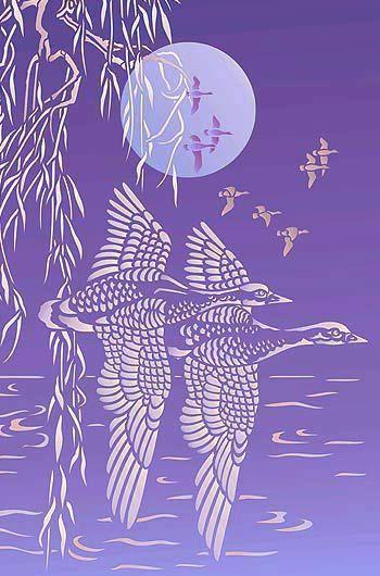 Wild Geese Bird Stencil
