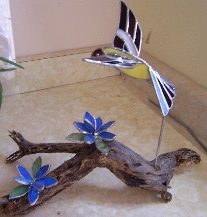 driftwood and stained glass projects | Stained Glass Yellow Finch on Driftwood with Blue Flowers-3-D                                                                                                                                                                                 More