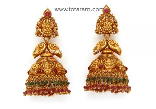 22K Gold 'Lakshmi' Jhumkas (Temple Jewellery) - GJH1360 - Buy this Indian Jewellery Design from Totaram Jewelers for a low price of $1,309.99