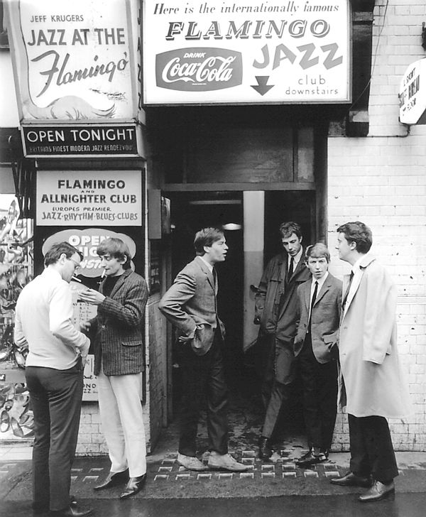 Mods showing Andy Summers and members of the band, Zoot Money, outside  the  Flamingo Club , London, 1964