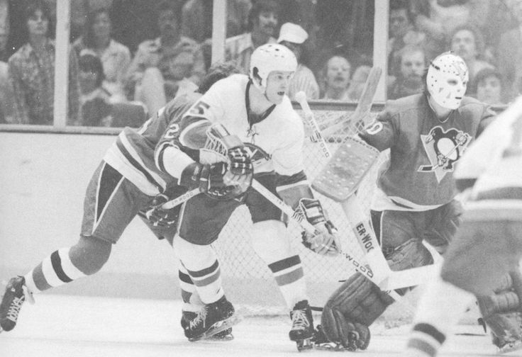Denis Potvin of the Islanders, Gary Inness of the Penguins.