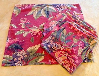 Six Cotton Large Dinner Napkins, Flowers, Leaves, Burgundy, Green, Mustard, Tan