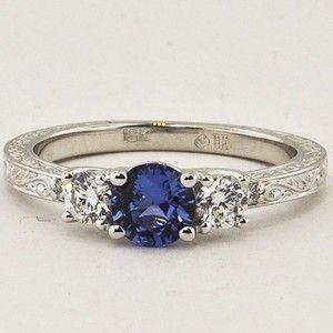 18K White Gold Sapphire Antique Scroll Three Stone Trellis Ring #BrilliantEarth