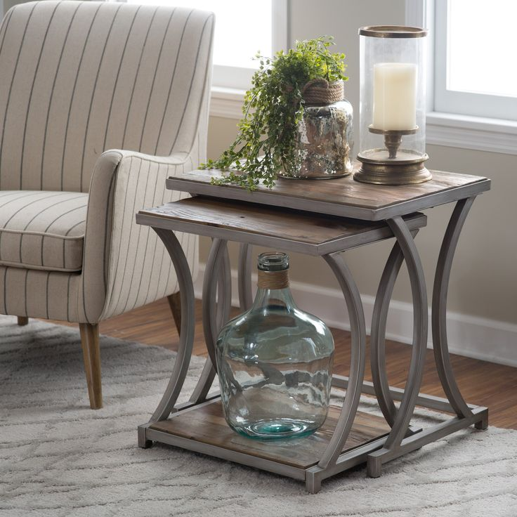 Belham Living Edison Reclaimed Wood Nesting Tables - Save space and add industrial glam style to your living room decor with the Belham Living Edison Reclaimed Wood Nesting Tables. These two nesting tabl...