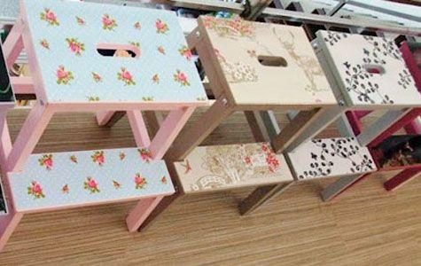 DIY paint and paper, IKEA BEKVÄM step stool.