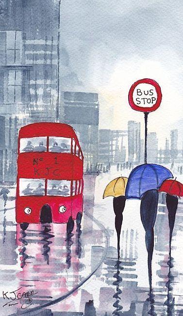 Rainy Day Bus stop by KJ Carr