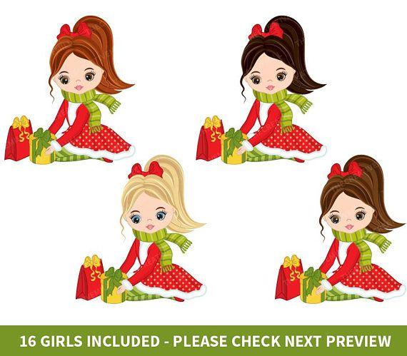 Christmas Girls Clipart Vector Christmas Clipart Girl Etsy Christmas Clipart Christmas Vectors Christmas Girl