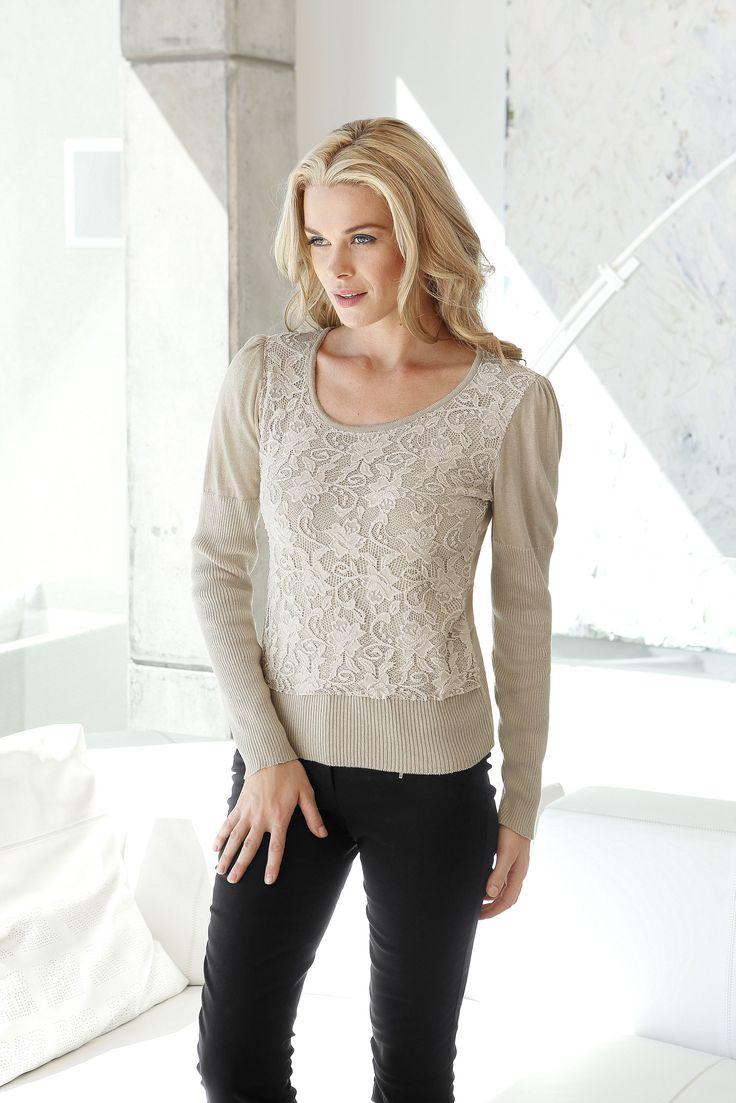 Пуловер. Элегантное сочетание материалов. Спереди оригинальная вставка из кружева #quelle #trends #fashion #style #brands #lifestyle #pullover