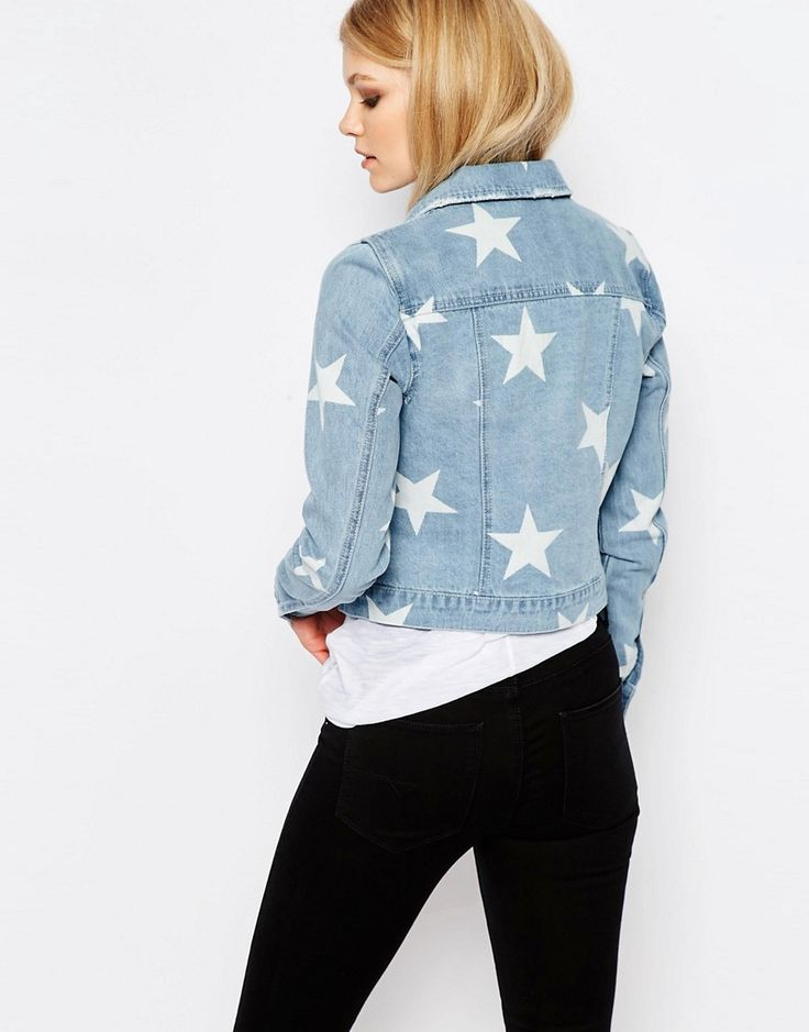 Image 2 of Noisy May Petite Star Print Denim Jacket