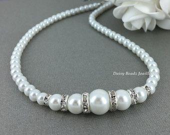 Blanco collar de perlas conjunto diamantes por DaisyBeadzJoaillerie