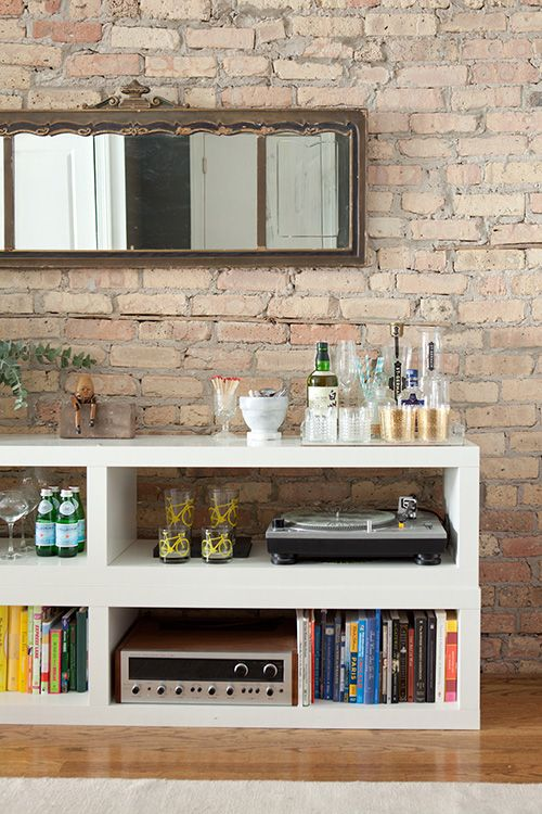 The white mini bar is made of two stacked Lack bookcases from