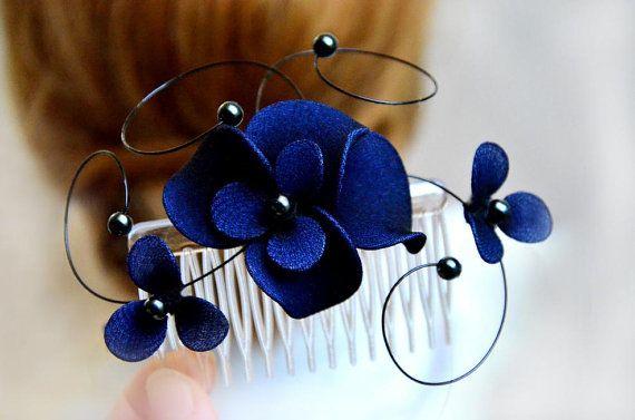 Bridal hair comb Floral headpiece in navy Bridesmaid by MyArtDeco