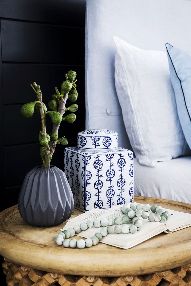 Small decorative pieces in the chosen colour scheme – the ornate square 'Ginger' jar, 'Chalky' vase and 'Battersea' drop shaped vase – add a stylish update to the bedside tables.