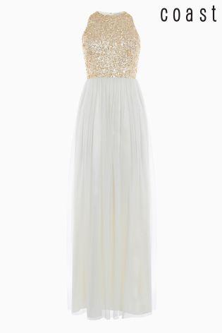 Złota sukienka balowa Coast Ru z cekinami i tiulem