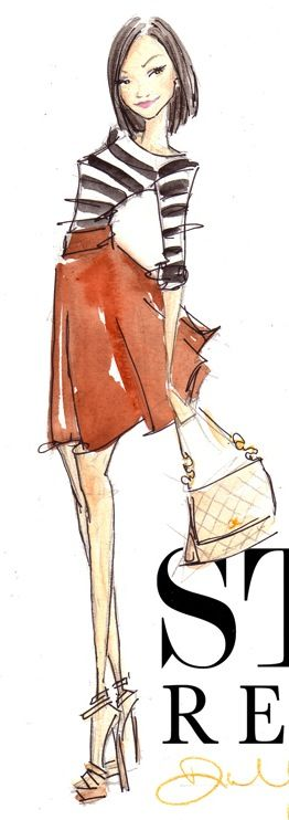 Love the pose and the loose and simple sketch style. #fashion #illustration #art #black #white #stripes #red #skirt