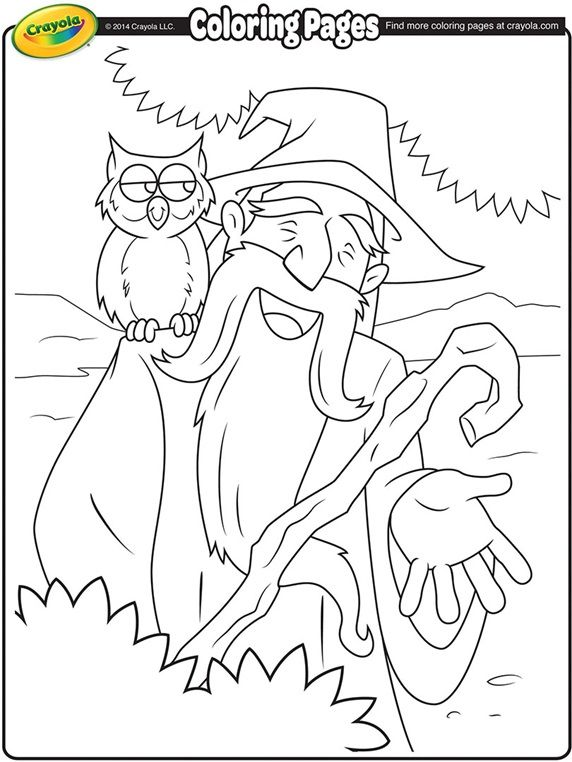 Wizard And His Owl On Crayola Com Owl Coloring Pages Crayola Coloring Pages Free Coloring Pages