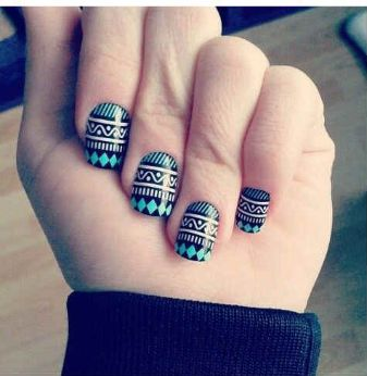 Aqua/Black/White Tribal Nails