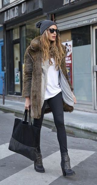 #winter #fashion / faux fur coat