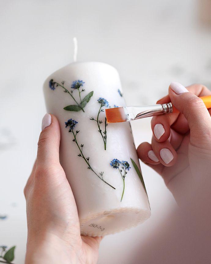 Muttertags DIY Geschenkidee Kerze mit getrockneten…
