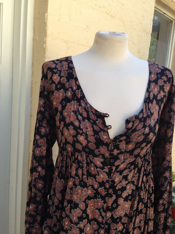 Medium - Large Long sleeve brown floral vintage 70's dress, ships from australia on Etsy, $55.00 AUD