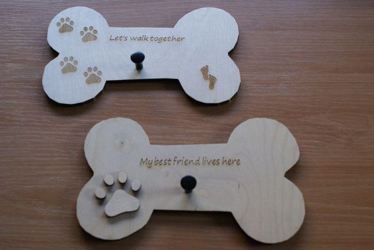 hondenbot van loofhout, gegraveerd