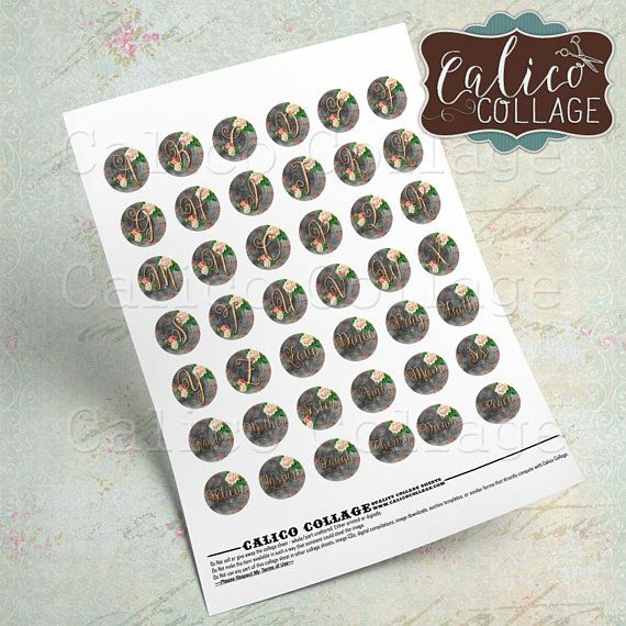 Rose Initial, Collage Sheet, Monogram, Alphabet, Bottlecap Images, Family Names, 1 inch Circles, Digital Circles, 1 inch rounds, 25mm Circles, Calico Collage, Digital Download, Printable Images, 1 inch Sheet, Rose Collage Sheet You will receive 2 Digital Collage Sheets with this