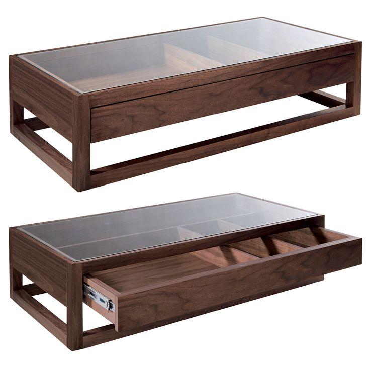 Rectangular display coffee table dark oak