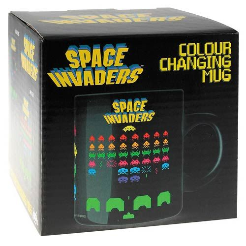 Space Invaders Color Changing Mug :-: Coffee is coffee...that ain't changing any time soon...but wow take a look at this awesome mug you could put coffee into!! With great color, this mug pay excellent respect to the dawn of video games. What is even greater about this mug though is that you can watch the colors change and invaders change position as the temperature of the liquid changes.