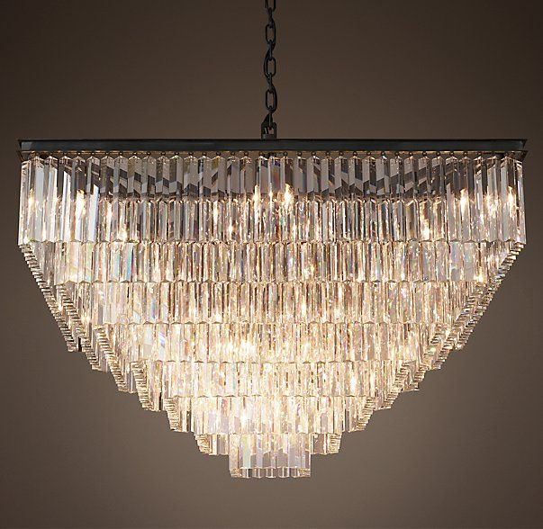 94 Best Images About 1920s Foursquare On Pinterest: 1920s Odeon Clear Glass Fringe Square 7-Tier Chandelier