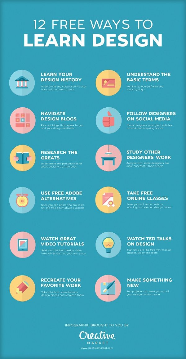 Infographic: 12 Free Ways To Learn Design – DesignTAXI.com