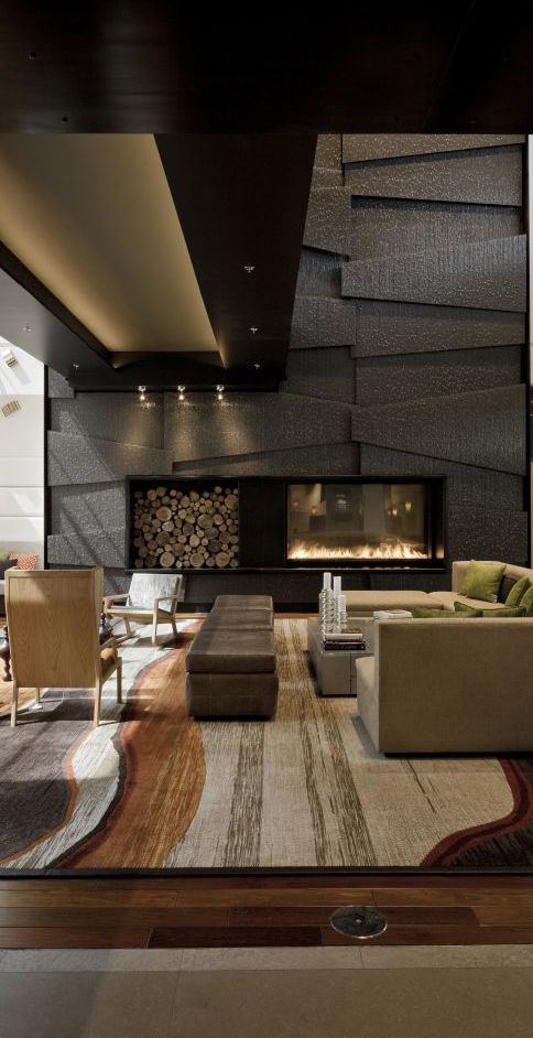 Contemporary living room design.  One of the most breathtaking rooms I've seen.... the colors and the texture add tremendous warmth fo the space.