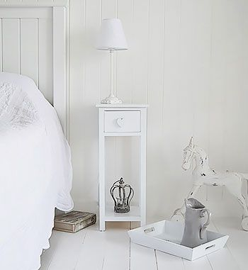 White Heart Cottage bedside table with drawer and heart handle. Narrow to  fit in small