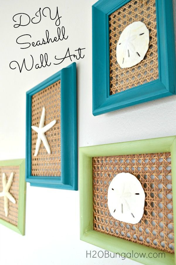 Coastal Seashell Wall Art with old chair caning and frames www.H2OBungalow.com #coastalart