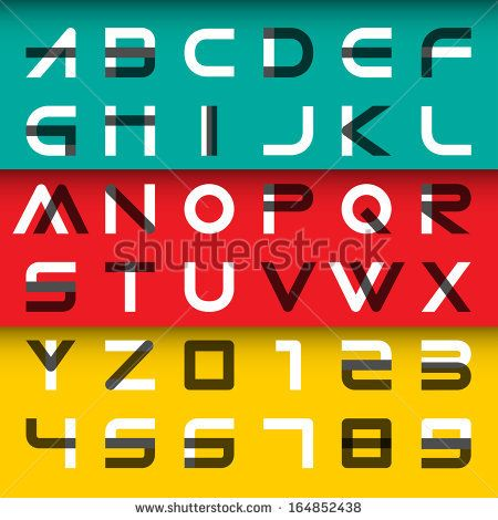 alphabetic fonts and numbers, vector illustration.