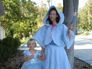 DIY Fairy Godmother costume - made from light blue fleece blanket