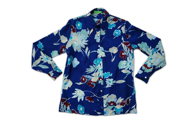 Vintage Cacharel Blue Floral Shirt.