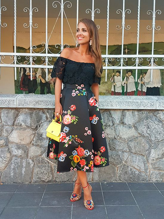 Black lace off the shoulder top+black floral midi dress+red ankle strap heeled sandals with colourfull jewel details+yellow handbag+earrings. Summer event outfit 2016