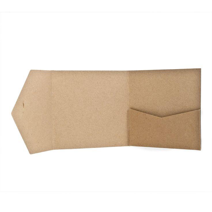 Pocketfold Karten quadratisch - 13x13cm - KraftpapierPocketfold-Karten sind zweimal gefaltete Klappkarten mit integrierter Tasche (Pocket). Sie...