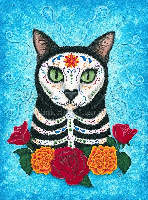 Day of the Dead Cat Art Cat Painting Gothic Mexican by tigerpixie