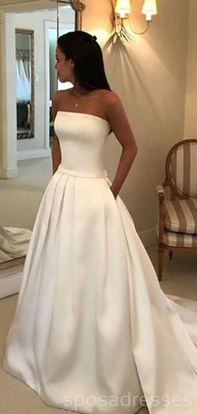 Strapless Simple A-line Satin Wedding Dresses Online, Cheap Bridal Dresses, WD513
