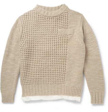 Sacai Satin-Lined Chunky-Knit Wool Sweater | MR PORTER